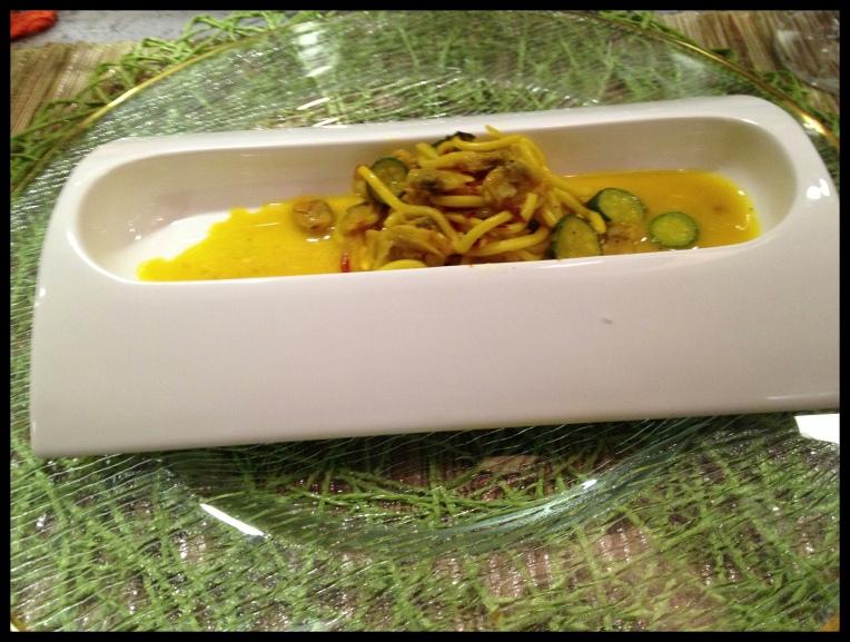 Chitarra Spaghetti – Clams – Saffron – Onions – Zucchini