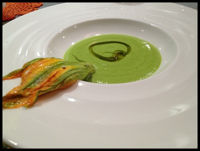 Pea Soup – Zucchini Flower