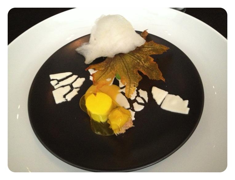 Dungeness Crab,  squash blossom, cardamom, saffron . Cotton candy, translucent blossom