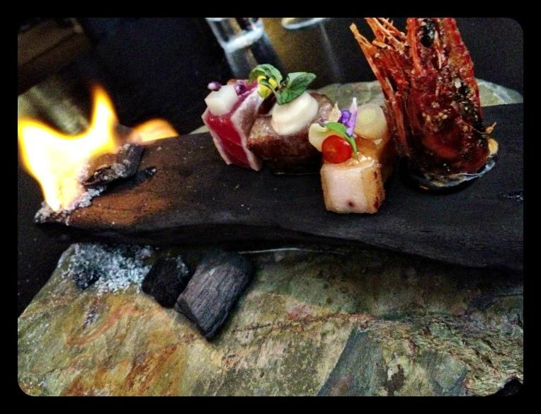 Binchotan, Tokyo inspiration. Toro, Wagyu, pork Belly, Shrimp head